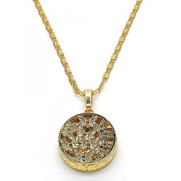 Gold Layered 04.63.1349.18 Fancy Necklace, Butterfly Design, Diamond Cutting Finish, Golden Tone