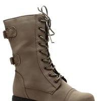 Taupe Cadet Kelly Textured Lace Up Combat Boots @ Cicihot Boots Catalog:women's winter boots,leather thigh high boots,black platform knee high boots,over the knee boots,Go Go boots,cowgirl boots,gladiator boots,womens dress boots,skirt boots.