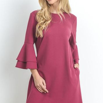 Flare Sleeve Shift Dress - Cherry