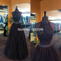 Sparkly Real Photos Black Prom Dresses 2017 Two Piece High Neckline Fashionable Long Women Vestidos De Fiesta Party Dress