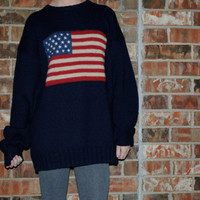 Oversized Vintage Hipster American Flag Sweater
