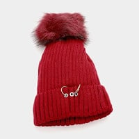Women's Burgundy Soft Knit Fleece Triple Ring Detail Fur Pom Pom Beanie Cap Hat