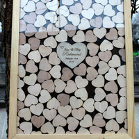 Wedding Guest Book Alternative Drop Box Drop in Top Wooden Hearts Frame Custom Wedding Gift