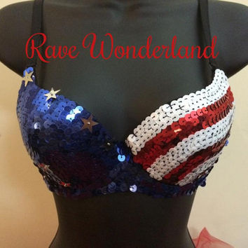America USA Patriotic Flag Sequin Bra Bling Rave Outfit Bra Outfit UMF EDC
