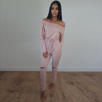 Heyouthoney women autumn sexy plus size S-2XL off shoulder strapless long sleeve hole jumpsuit rompers outfit combinaison femme