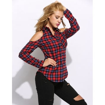 Fashion Women Turn Down Collar Cold Shoulder Roll Up Sleeve Plaid Casual Button Down Shirt