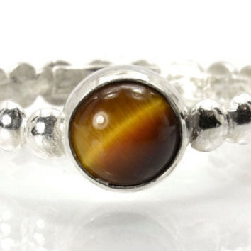Sale - 20% off - Sterling Silver Stacking Ring with Tiger's Eye Gemstone, Silver Bead Ring, Tiger's Eye Ring