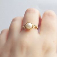 Silver Faux White Pearl ring - unique rings