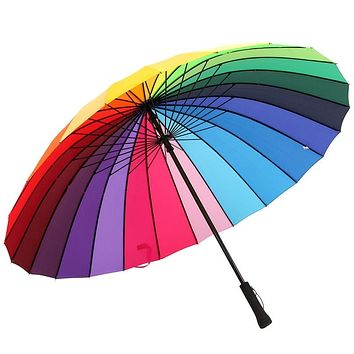Rib Color Rainbow LGBT Long Handle Umbrella Anti-Uv Sun/Rain