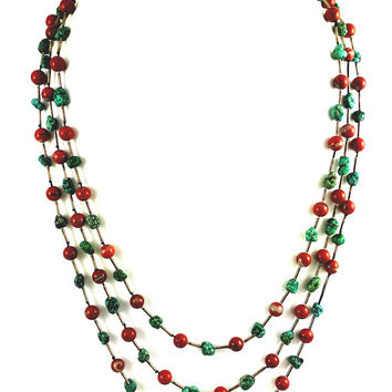 Turquoise & Jasper Tiered Sterling Silver Necklace