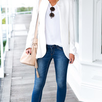 Pure color coat collar cardigan shoulder pads long-sleeved suit type