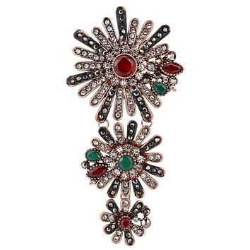 Fine Crystal Flowers Brooch For Women Vintage Jewelry Antique Gold CZ Zircon Accessories Delicate Gifts Girl Brooch