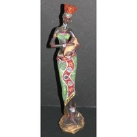 """African Tribal Lady with a baby 12"""" Figurine in colorful dress with glitter and cut mirrors"""