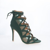 Sway Olive Green By Shoe Republic, Ghillie Mesh Cut Out Leg Wrap Heeled Sandals