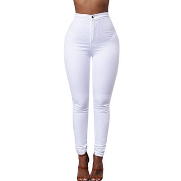 Spring Summer Womens 3 Colors High Waist Denim Pants Slim Casual Narrow Feet Jeans Trousers Vintage Style Hot!