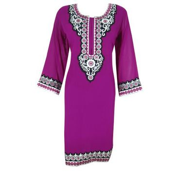 Mogul Woman's Ethnic Indian Long Kurti Pink Georgette Tunic Dress - Walmart.com