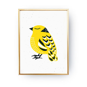 Scandinavian Bird Poster, Bird Illustration, Nursery Decor, Bird Art, Yellow Bird, Nursery Wall Art, Childrens Room Decor, Girls poster