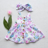 Cute Toddler Kids Baby Girl Dress Floral Party Dresses Sundress Headband Outfits Summer Sleeveless Flower Casual Clothing