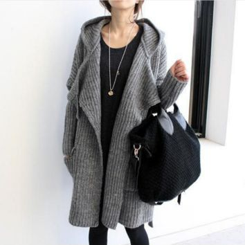 Autumn and winter thick sweater cardigan jacket loose wool thick hooded knit in the long section of the jacket