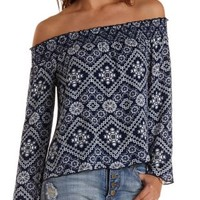 Tile Print Off-the-Shoulder Top by Charlotte Russe