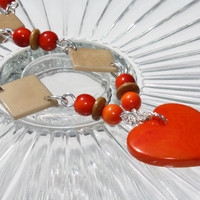Eco Friendly Vibrant Orange and Brown Tagua Nut Heart Necklace