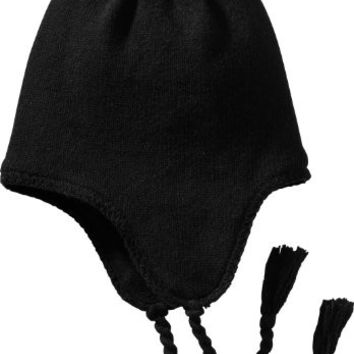District Wool Blend Fleece Lined Knit Hat with Earflaps and Tassles DT604 Black