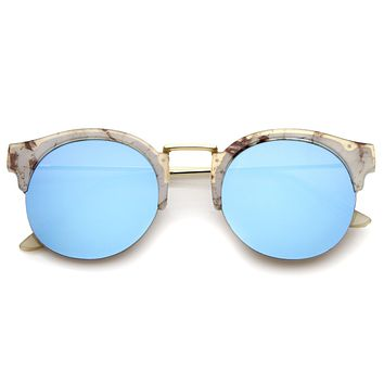 Women's Marble Half Frame Round Mirrored Lens Sunglasses A292