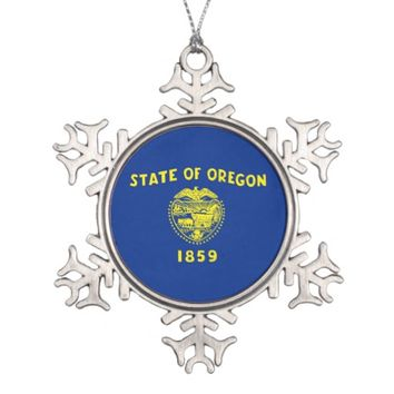 Snowflake Ornament with Oregon Flag