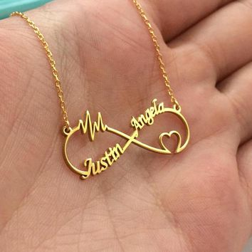 QIAMNI Infinity Shape Custom Letters Personalized Heart Pulse Name Necklace Couple Pendant for Women Men Love Birthday Gift