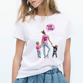 Women T Shirt Mama and Kids Happy Time Holiday Mothers Day Tshirt Gift for Mom Tee T-shirt Good Quality Cotton Casual Camiseta