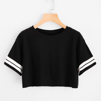 Varsity Striped Crop Tee -SheIn(Sheinside)