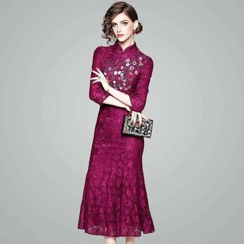 Chinese Style 2018 Spring Summer Women's Fashion Slim Mandarin Collar Embroidery Floral Lace Long Full Dress Retro Party Dresses