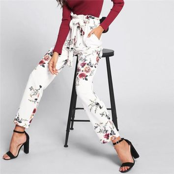 Elastic Waist Belted Frill Detail Floral Pants