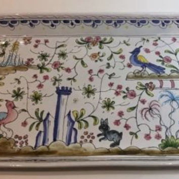 """Berardos Tray/Platter w/ Handles Hand-Painted Pottery Made in Portugal 16""""Lx9""""W"""