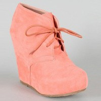 Coral Ankle Bootie Wedge Heel Shoe Pretty Peach Suede Summer Fashion