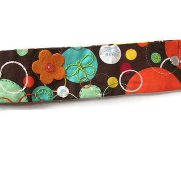 Snap On Wrist Cuff Fun Fall Colorful Dots and Circles Hand Embroidered and Button Embellished