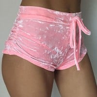 Sexy Velvet Women Shorts 2017 6 Colors New Fashion High Waist Lace Up shorts Autumn Winter Mini Skinny Shorts Plus Size