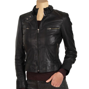 Women's black leather jacket with collar belt