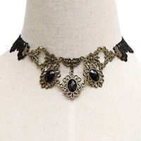 Artificial Crystal Inlay Lace Necklace