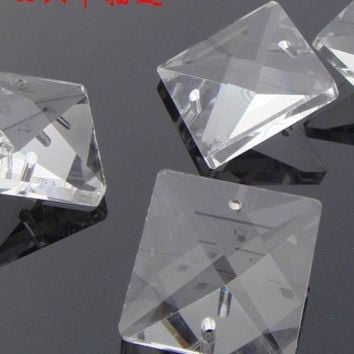 25 Square Glass Crystal Beads 16mm Square Glass Chandelier Parts Square Crystal Jewelry Parts Wholesale Glass Crystals Chandelier Parts