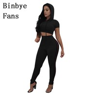 Binbye Fans Runway Short Sleeve Hooded Top And Pants Two Piece Set Outfits Casual Tracksuit 2 Piece Suits Women CH087