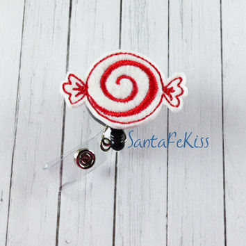 Christmas Candy Felt Badge Holder with Retractable Badge Reel. A great gift for yourself or for your favorite nurse, teacher, coworker