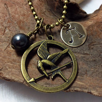 Hunger Games Mockingjay Necklace with Black Pearl