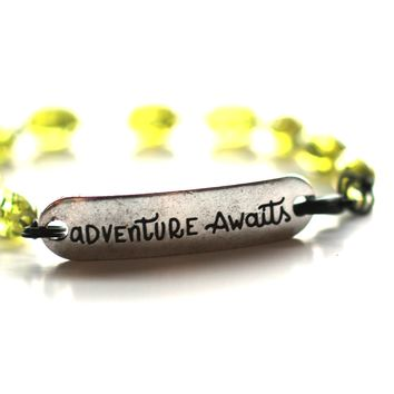 Adventure Awaits Quote Bracelet // Green Glass Bead Bracelet // Motivational Gift