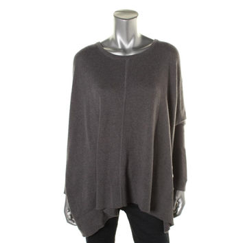 DKNYC Womens Cashmere Blend Batwing Sleeves Pullover Sweater