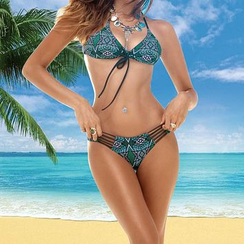 Women Swimsuit Beach Bath Suit Multi-rope Hollowing Women biquini With Shoulder Belt Bikini Set Top and Bottoms Swimwear 2017