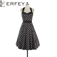 Women Dress 50s 60s Vintage Polka Dot Dress Rockabilly Pin Up Dresses Polka Dot Pleated Halter Dress Elegant Womens Clothing