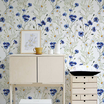 Blue Vintage Wallpaper Wall Mural Flowers Floral Decor Peel And