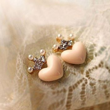 LMFIJ6 E019 new cute Love Crystal Crown Stud earrings Free Shipping Mellow Rose Peach Heart Earrings simulated Pearl