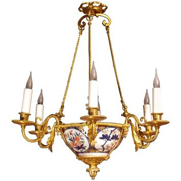 Imari Porcelain Light Fixture from the End of the 19th Century